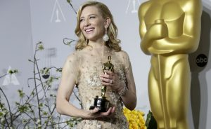MCT AND WIRE SERVICES OUT. NO SALES. TRIBUNE NEWSPAPERS, WEBSITES AND TELEVISION STATIONS ONLY. THIS PHOTO IS EMBARGOED UNTIL THE CONCLUSION OF THE ACADEMY AWARDS SHOW. IT CANNOT BE POSTED ON THE INTERNET OR ELSEWHERE UNTIL SUCH TIME....... HOLLYWOOD, CA– March 2, 2014. Cate Blanchett with her Oscar for Best Actress in a Leading Role (Blue Jasmine)in the press room during the 86th Annual Academy Awards on Sunday, March 2, 2014 at the Dolby Theatre at Hollywood & Highland Center in Hollywood, CA. (Lawrence K. Ho / Los Angeles Times)