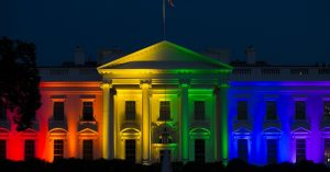 The White House is lit up in rainbow colors in commemoration of the Supreme Court's ruling to legalize same-sex marriage on Friday, June 26, 2015, in Washington. (AP Photo/Evan Vucci)