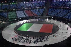 Pyeongchang 2018 Winter Olympics – Opening ceremony – Pyeongchang Olympic Stadium - Pyeongchang, South Korea – February 9, 2018 - The flag of Italy is paraded during the opening ceremony. REUTERS/Toby Melville